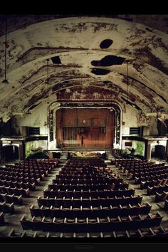 There's just something about an old falling down theater that I find interesting, almost sad.... But there is a reverence there. I'm always happiest in a theater, but I love the history of the ones that are falling apart, one can almost picture what used to be.