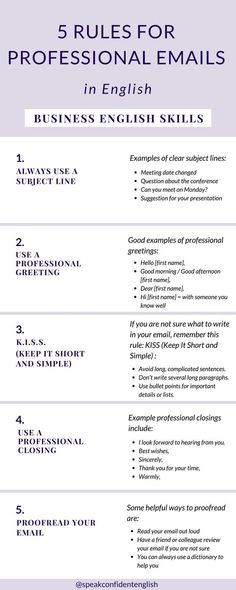 7 Rules for Professional Emails in English – Business English Skills 7 Rules for Professional Emails in English – Business English Skills,Sprachen 5 rules to write professional emails Related. English Writing Skills, English Vocabulary, Writing Words, Writing Tips, Business Writing Skills, Business Communication Skills, Work Goals, Business Emails, Email Etiquette Business