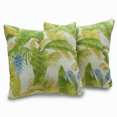 Add charming appeal and complete the look of your favorite living space with this set of two, Nags Head decorative throw pillows. These attractive accents feature a soft polyester cover construction and a tropical-inspired pattern.