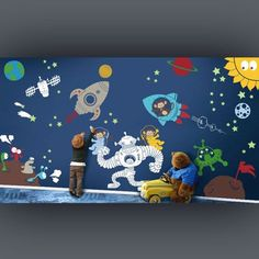 - Detail - Size Outer Space Wall Playroom Decal for kids room. Decorate your kids room, daycare center, classroom or library with this decal set & the little one's will love it! COLOR OPTIONS • Monkey