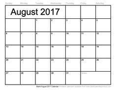 Blank August 2017 Calendar