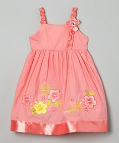 Look what I found on #zulily! Coral Hibiscus Ruffle Strap Dress - Toddler & Girls #zulilyfinds