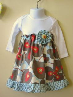 Baby Girls Onesie Dress- I wish I had a sewing machine so I could make these!!! Perfect for winter!