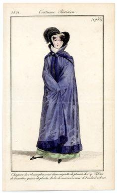 Le Journal des Dames et des Modes 1821 Costume Parisien N°1955