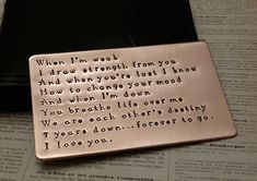 Love note Copper Wallet Insert 7th anniversary gift