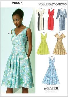 MISSES' DRESS: Lined dress has princess seams, close-fitting bodice, raised waist, stitched hems, back zipper, and unlined sleeve variations. A: sleeve, and narrow hem. B and C: sleeveless. A, B, C: flared skirt. D, E, F: semi-fitted skirt, and back slit.  FABRICS: Linen Blends, Crepe, Tropical Wool, Broadcloth. Fusible Interfacing (Bodice).