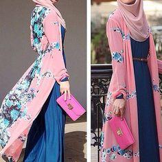 Long shirt dress, pink floral