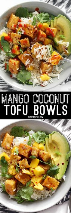 Mango Coconut Tofu Bowls with savory coconut rice and a tangy honey lime glaze. BudgetBytes.com (sub maple syrup or rice syrup for honey)
