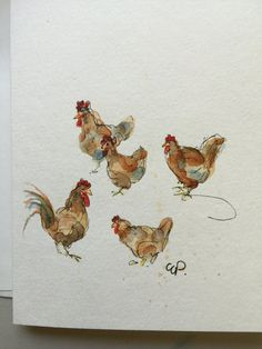 Chickens Watercolor Card / Hand Painted Watercolor by gardenblooms