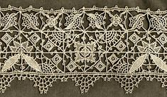 Reticella   -  On this Victorian rendition of Italian Renaissance needle lace, diagonal elements dominate within a basic Reticella grid. The technique is identical to that used for 16th and 17th century work, but the flavor is different. This might at a glance be mistaken for machine-made lace, but magnification discloses all-over button hole stitches.