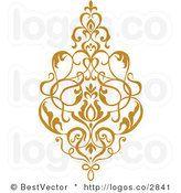 Royalty Free Gold Damask Design Logo by BestVector