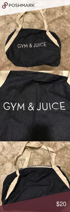 """NWOT Gym/ yoga bag """"Gym & juice"""" brand new, never used (still has the plastic around the handles) jean material look Bags Totes"""