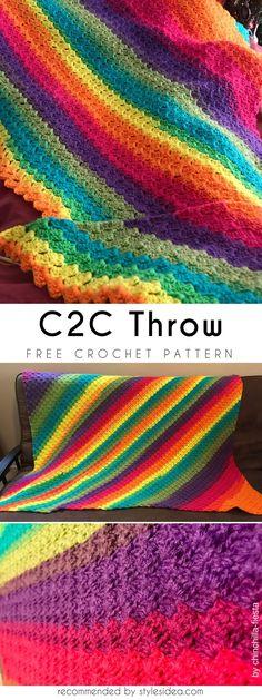 Crochet Corner-To-Corner Throw #freecrochetPatterns #crochetafghan #freecrochetPatternsforafghan #freecrochetPatternsforblanket #crochetstitch #freecrochetPatternsforthrow