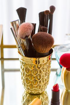 the chicest way to store your makeup brushes