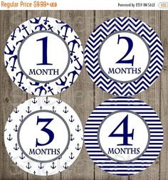SALE Monthly Baby Boy Milestone Stickers Navy by StickersPlus