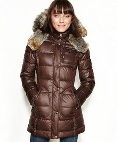 Laundry by Design Coat, Faux-Fur-Trim Hooded Puffer - Coats - Women - Macy's