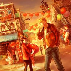 """Alfred paying a visit to Chinatown; there really IS a """"Canal Street"""" in New York's Chinatown, but I don't know if that's what's shown here or if it's coincidence - Art by Kanmuri"""