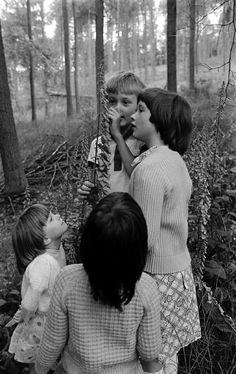 by David Hurn, A nature walk of the staff and pupils at the smallest school in Wales, only four pupils, at Llaneglwys, Wales Documentary Photographers, Magnum Photos, Walking In Nature, Vintage Children, The Beatles, Candid, Wales, Cute Girls, Documentaries