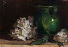 White peonies with provençal pot A Daily painting by Julian Merrow-Smith