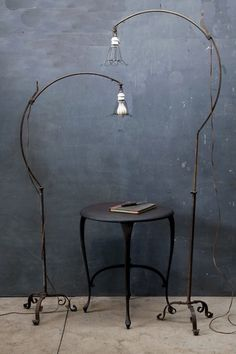 Belgium, 1930s, Hand Forged Industrial Bronze Roycroft Arts & Crafts Floor Lamps. Arching, adjustable depth, porcelain socketry.