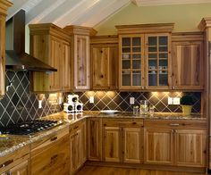 hickory cabinets kitchen design ideas wood flooring gas cooktop