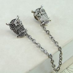 Owl Collar Clips in Antique Silver