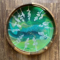 Serving Tray Wood, Round Tray, Acacia Wood, Trays, Resin, Paintings, Abstract, Artist, Projects
