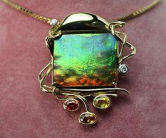 Artistic Hand Made 18K Gold Canadian Ammolite Sapphire Diamond Pendant MW | eBay