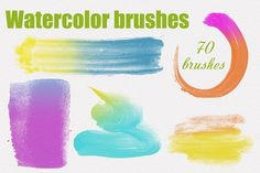 70 High Res Watercolor PS Brushes by DesenArt on @creativemarket