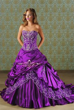 Elegant satin strapless embroidery purple wedding dress $198.00