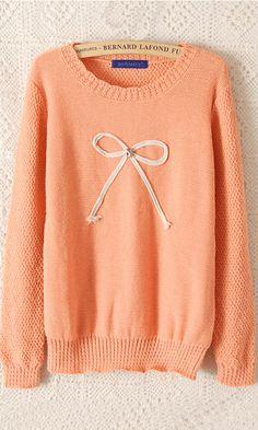 Bowknot infront bosom round collar pullover sweater orange nice