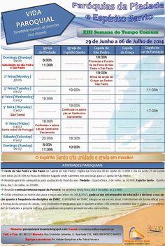 PARÓQUIAS DO PORTO SANTO: Horário das Paróquias 29 de Junho a 06 de Julho de...