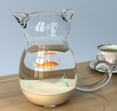 This is really cute!!!! cat shaped fish tank.