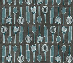 utensils charcoal grey fabric by ms_majabird on Spoonflower - custom fabric