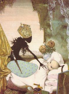 Jiri Trnka, illustration. for Hans Christian Andersen Fairy Tales... Scary