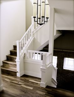 love this paneled and posts staircase/banister