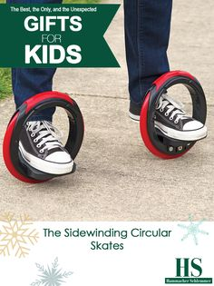 The Sidewinding Circular Skates - These are the annular skates that are propelled by leaning side to side, allowing you to glide along as if riding a skateboard without pushing off the ground. Riders simply place their feet on the two platforms and lean side-to-side to rotate the rubber wheels around the feet, propelling riders forward in a serpentine motion similar to longboard skateboarding.