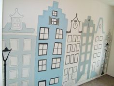 muurschildering grachtenpandjes Kids Room Murals, Murals For Kids, Kids Bedroom Paint, Things To Do Inside, Amsterdam Houses, Boy Girl Room, Chic Nursery, Nursery Wallpaper, Nursery Inspiration