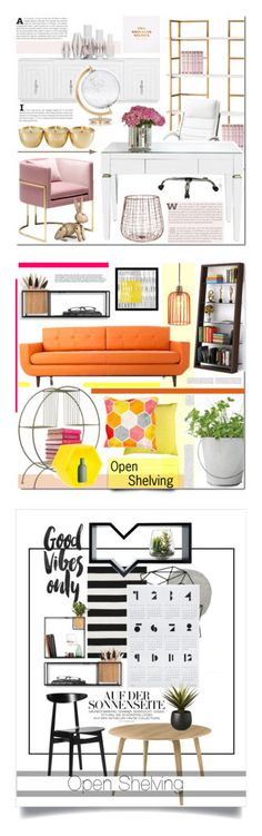 """Winners for Show Off: Open Shelving"" by polyvore ❤ liked on Polyvore featuring interior, interiors, interior design, home, home decor, interior decorating, Kay Bojesen, CB2, SecondoMe and Pink"