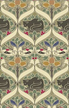 "Pattern design by Charles Voysey (1857-1941), ca. 1898, ""I Love Little Pussy"". #Cat"