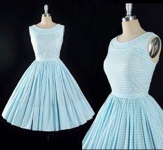 Vintage 1950s Dress / 50s BLUE GINGHAM Cotton by GeronimoVintage