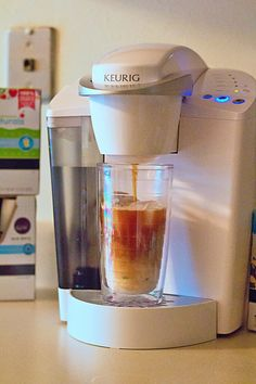 Keurig What do you think of the colour? Keurig A Keurig coffee machine is my favorite way to make iced coffee and other brewed beverages over ice! Coffee K Cups, Hot Coffee, Coffee Drinks, Coffee Shop, Coffee Beans, Coffee Cozy, Coffee Lovers, Iced Black Coffee, Ninja Coffee