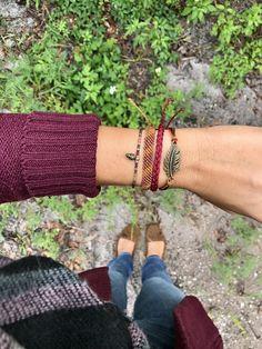 Fall bracelet Set Pura vida bracelet Leaf bracelet Feather