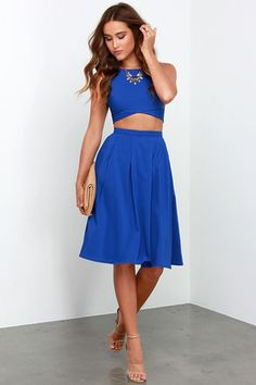 Cute Royal Blue Two-Piece Dress - Midi Two-Piece Dress - $75.00