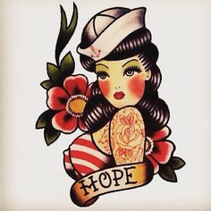 Ideas tattoo old school traditional ink sailor jerry Tattoo Girls, Pin Up Girl Tattoo, Pin Up Tattoos, Trendy Tattoos, Body Art Tattoos, Girl Tattoos, Tattos, Flash Tattoos, Tattoos Skull