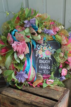 A personal favorite from my Etsy shop https://www.etsy.com/listing/533521713/welcome-mason-jar-wreath-with-deco-mesh