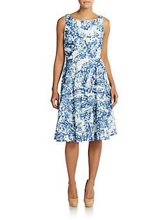 Abstract Print Lace Dress