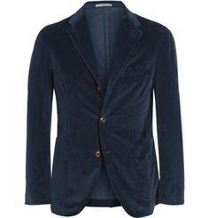 Boglioli Navy Slim-Fit Stretch Cotton-Corduroy Blazer | MR PORTER