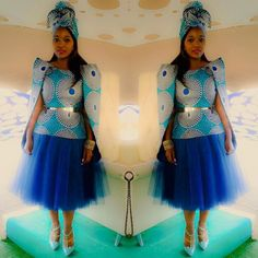 What a beautiful bride you were Sibongile , thank you for wearing at your traditional wedding honey. You looked amazing👌🏽😍💖💙 African Bridesmaid Dresses, African Wedding Attire, African Attire, African Wear, African Fashion Dresses, African Women, African Dress, African Traditional Dresses, Traditional Wedding Dresses