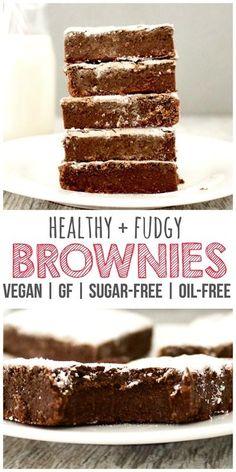 Healthy Perfectly Fudgy Brownies! (Vegan, Gluten-Free, Sugar-Free, Oil-Free)